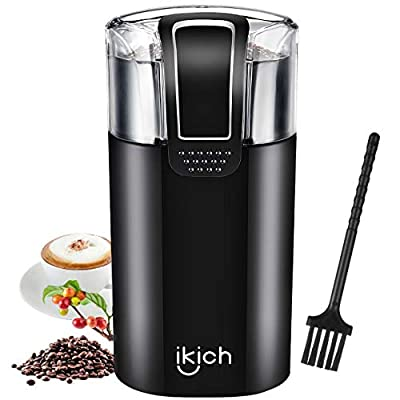Electric Coffee Grinder, Ikich Coffee Bean Grinder Electric Mill Spice Grinder, Stainless Steel Blade, 60g Capacity, Cord Storage, Portable & Compact for Spices, Pepper, Herbs, Nuts, Seeds, Grains from IKICH