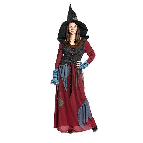 Kostümplanet® Hexen-Kostüm Deluxe für Damen mit Hexen-Hut große Größen 44 (Hexe Billig Hüte)