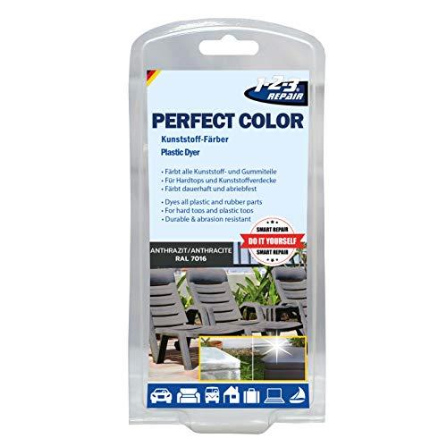 123repair Perfect-Color Kunststoff Aufbereitung - Polyrattan Gartenmöbel Camping Anthrazit mit Schwamm