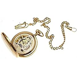 Gold plated on brass mechanical skeleton full hunter pocket watch sun and moon design with dual time zone
