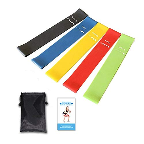 Peanutaod Übungs-Widerstand-Schleifen-Bänder 5er-Set Workout-Bänder Fitnessgeräte mit Tragetasche für Beine Butt Arms Yoga Pilates -
