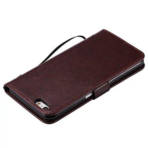 DaYiYang Case Cover IPhone 6s plus Fall, Normallack-erstklassiger PU-lederner Fall-Prägen-Muster-Schlag-Standplatz-Fall-Abdeckung mit Karte und Bargeldschlitze für iPhone 6s plus ( Color : Green ) Brown