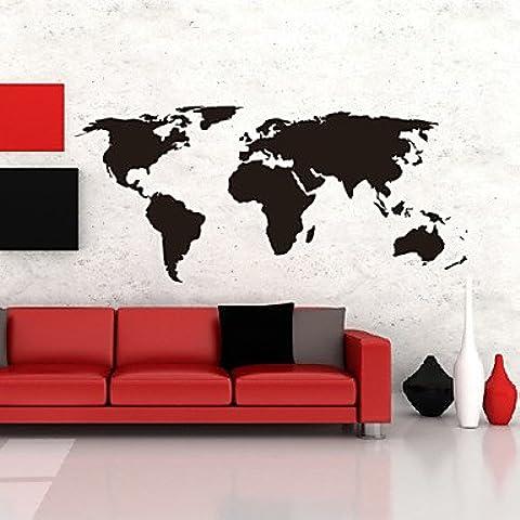 Piteng? adesivi mappa parete grandi globale mappa del mondo atlante vinile stickers murali lavabili ,