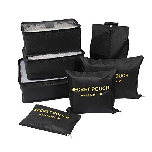 Yiran 7Set Organizadores de viajes Cubos de embalaje Bolsa de lavandería Bolsas de compresión de organizador de bolsa para la ropa, cosmético,zapato (Negro)