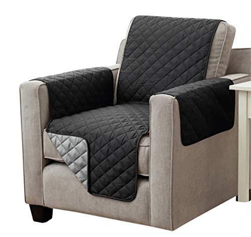 Sesselschoner Sofaschoner Sesselschutz Sofaüberwurf (1-Sitzer 191 x 165 cm, schwarz/anthrazit)