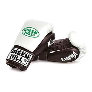GANTS DE BOXE GREEN HILL VICTORY CUIR KICK BOXING NOIR ROUGE BLANC (blanc et noir, 12oz)