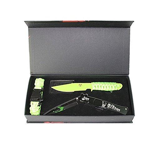 Tactical G8DS® Zombie Dead Messer-Set Taschenmesser, Fahrtenmesser ,Paracord Armband Outdoor Festival Set-Zomb-1