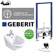 Geberit Vorwandelement Bidet Set + Gustavsberg Design Bidet + Lotusclean Beschichtung
