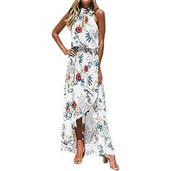 SHOBDW Vestido Largo Maxi Floral Boho de Las Mujeres de la Manera Impresión Fiesta de Noche sin Mangas de la Gasa Playa del Verano (S, Blanco)