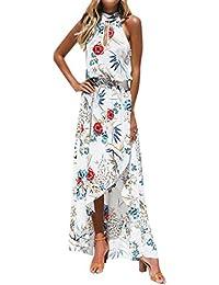 7fb04a8f19 SHOBDW Vestido Largo Maxi Floral Boho de Las Mujeres de la Manera Impresión  Fiesta de Noche sin Mangas de la…