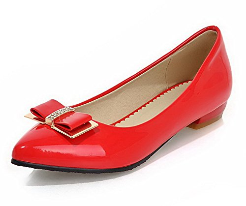 AllhqFashion Femme Tire Pu Cuir Pointu à Talon Bas Chaussures Légeres Rouge