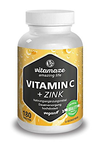 Vitamin C hochdosiert 1000 mg + Bioflavonoide + Zink 180 Tabletten vegan für 6 Monate Qualitätsprodukt-Made-in-Germany ohne Magnesiumstearat, jetzt zum Aktionspreis und 30 Tage kostenlose Rücknahme! 1er Pack (1 x 261 g)
