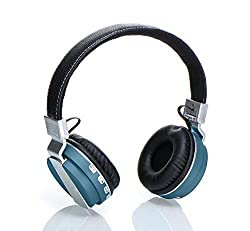 Laploma Hertz Wireless Bluetooth Headphone & Headsets With Mic with high bass sound, Bluetooth Headphones Build in Microphone with SD Card Function /FM Radio/Aux , Wireless Headphones(Blue)