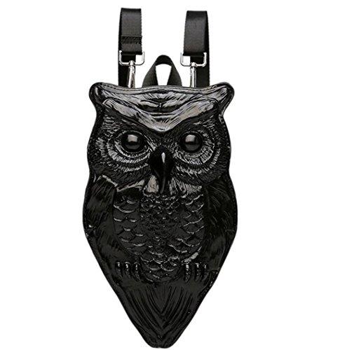 SHFANG 3D Eule Double Schultertasche Silikon PU Rucksack Diagonal Spannweite Multifunktionale Drei Farben 30,5 * 8 * 18cm , mysterious black mysterious black