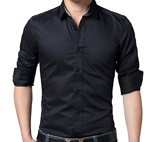 Homme Classique Chemise d'affaire Coton Manches longues Non repassage Couleur unie Noir