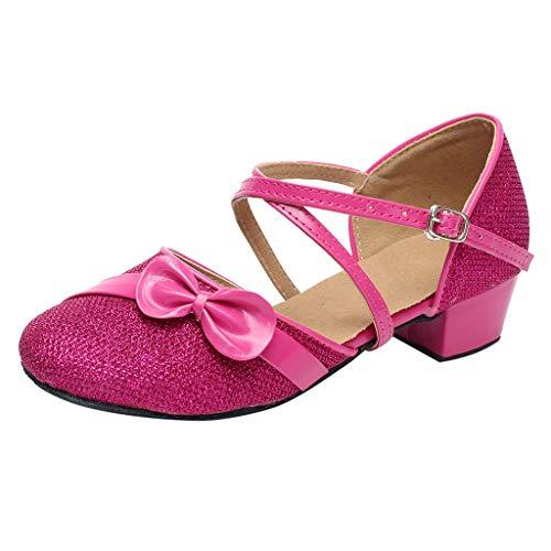 Mitlfuny Zapatos de Baile de Tango Latino para Niños Bailarina Vestir Fiesta Arco Princesa Sandalias Zapatitos de Tacón Bebé Niño Primavera Verano Hebilla Cuero Zapatillas Niñas 4-15 Años