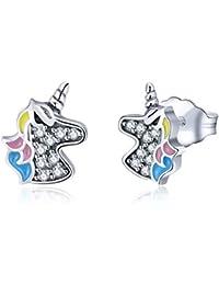 Qings 925 Sterling Silver Unicorn Stud Earrings for girls,kids Cubic Zirconia Earrings