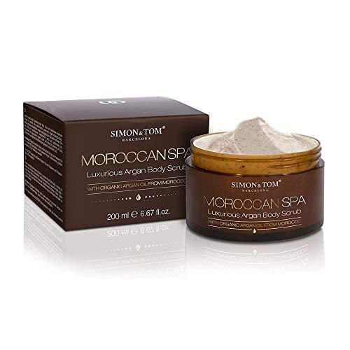 Simon & Tom Moroccan Spa Body Scrub - Luxoriöses Körperpeeling mit Arganöl und Arganschalenstückchen. Intensive Körperpflege mit Wohlfühleffekt. Für alle Hauttypen geeignet, 200 ml.