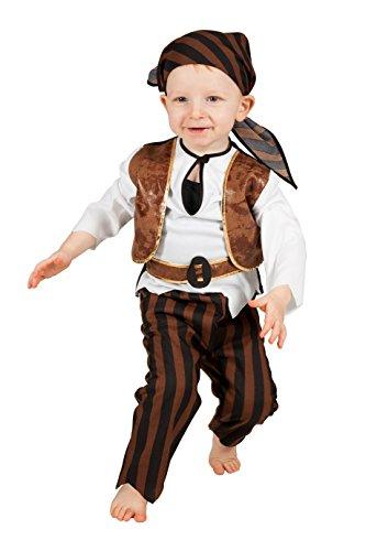 Piraten Kapitän Kostüm Kleinkind - Jannes - Kinder-Kostüm Pirat, braun weiß, Kleinkinder 92