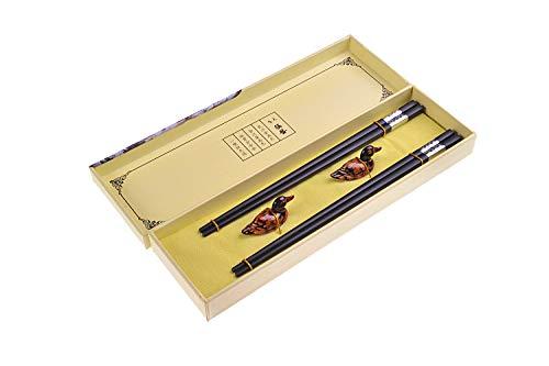 Quantum Abacus Black Metal Set de Baguettes de Luxe en Alliage métallique dans Coffret Cadeau - 2 Paires des Baguettes en métal Noir, 2 Supports en Bambou, SC-H-S2-ML-03