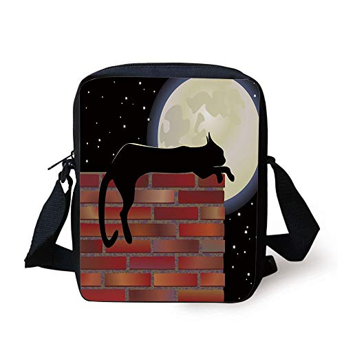 CBBBB Moon,Cat Silhouette Resting on a Brick Wall in a Starry Night Full Moon Imagery Decorative,Black Ivory Vermilion Print Kids Crossbody Messenger Bag Purse Ivory Night Light