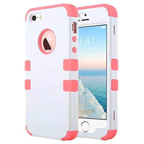 ULAK - Cover per iPhone 5S , iPhone SE / 5 Custodia ibrida a protezione integrale con parte esterna in 3 strati di morbido silicone e interno rigido per Apple iPhone 5S /5 /SE -Nero K-Rosa + Bianco