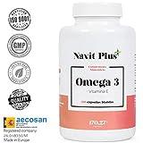 Omega 3 Ácidos grasos + Vitamina E. Alta dosis de EPA (700 mg) y DHA (500 mg). Efecto antiinflamatorio y anticoagulante. Complemento alimenticio a base de aceite de pescado. 120 cápsula blandas.