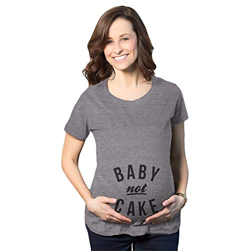 Crazy Dog Tshirts - Maternity Baby Not Cake Funny Pregnancy Tees For Pregnant Announcement Funny T Shirt (Dark Heather Grey) - L - Camiseta De Maternidad