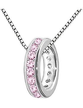 CLEVER SCHMUCK-SET Silberner kleiner Anhänger Mini Taufring 10 mm viele Zirkonia rosa pink ringsum mit Kette Venezia...