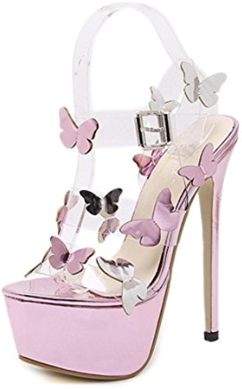 Lh$yu Sandalias de Mujer SeñOras De TacóN Alto Sandalias Moda Mariposa Transparente Hebilla Plataforma Impermeable... -