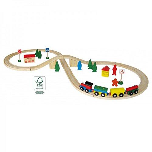Holzeisenbahn Set 40-teilig inkl. Schienen