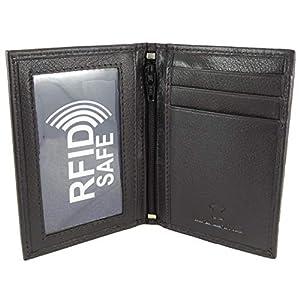 Portafoglio sottile in morbida pelle, porta carte di credito/da viaggio/con supporto con doppia finestrella per carta d'identità Brown S