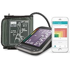 Idea Regalo - 1byone Misuratore di Pressione da Braccio Digitale, Monitor Bluetooth per App Connessione con Largo Schermo LCD Retroilluminato, Fascia Misura Adattabile, Custodia in Nylon per Sfigmomanometro