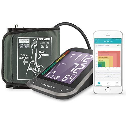 1byone Misuratore di Pressione da Braccio Digitale, Monitor Bluetooth per App Connessione con Largo Schermo LCD Retroilluminato, Fascia Misura Adattabile, Custodia in Nylon per Sfigmomanometro