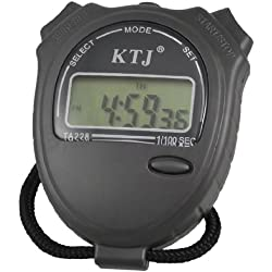 Black Neck Strap LCD Display Dark Gray Stopwatch Digital Watch
