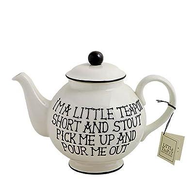 Fairmont & Main Théière en faïence décorée à la main Inscription «I'm a little teapot» Cuisson haute température Crème/noir