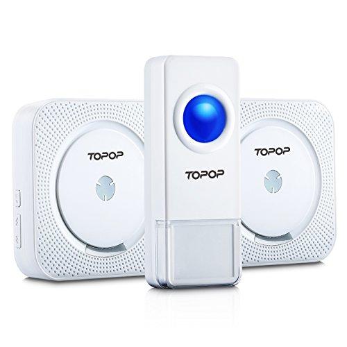 Wireless Door Bell, Topop Door Bell with 1000-feet Range, 52 Chimes Tones and Included Batteries for Push Button, Waterproof Door Bell No Batteries Required for Receiver – White Test