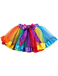 KaloryWee Tutu Skirts for Girls, Girls Bowknot Lace Princess Skirt for Casual Daily Party, Kids Petticoat Rainbow Pettiskirt Dancewear Rainbow Ballet Dance Ruffle Tiered Tulle Skirts for Age 1-9