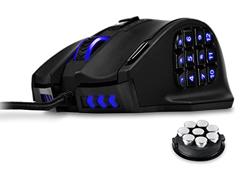 UtechSmart Venus - Ratón  láser para juegos MMO, de alta precisión (18 botones programables, 16400 dpi), color negro