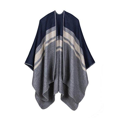 Frauen Mode Nepal Stil Oversized verdickte Decke Schal wickeln Poncho Schal Cape gemütliche Faux Cashmere perfekt als Geschenk für Frau 150 * 130cm , blue Faux Cashmere