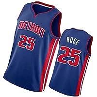 PUS Derrick Rose # 25 Detroit Pistons, Camiseta Deportiva sin Mangas con Bordado clásico para Hombre, Chaleco de Jersey Transpirable de Malla Informal Retro Blue-S