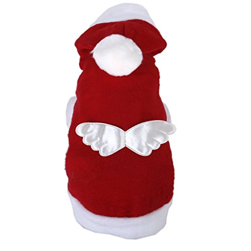 Generic Christmas Santa Claus Hoodie Pet Angel Wing Dog Apparel Coat Costume Outfit - Size S