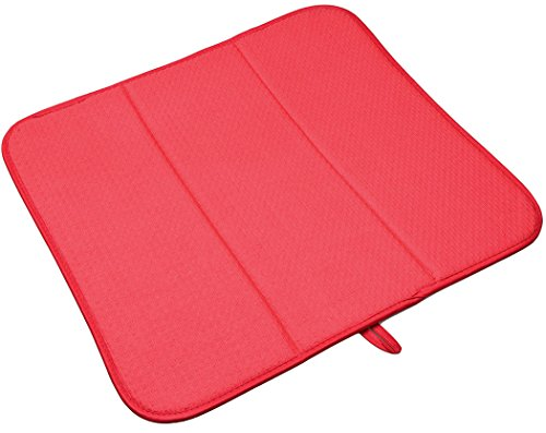 Matte Küche Trocknung (Sinland Microfaser Abtropfmatte küche Geschirr Trocken Matte Trocken Pfannen Küchengeschirr 40cmx46cm Red)