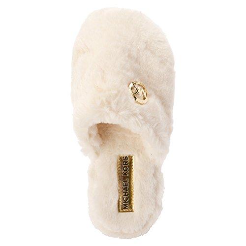 Michael Michael Kors Jet Set MK Fur Toile Pantoufle Off White