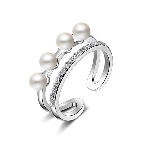 Esberry 14K Vergoldet Ring AAA+ Kubikzircon Doppelschicht Perle Ring Mode süße Beliebt Kreative Persönlichkeit Literarischen Offenen Ring für Mädchen und Frauen (14K-White Gold)