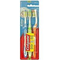 Colgate Extra Clean - Paquete de 3 cepillos de dientes de dureza media