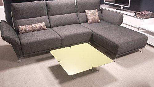 Möbel Akut Couchtisch Freistil 195 ROLF Benz Design Kleeblatt 79 x 79 cm grauolive Gestell Chrom