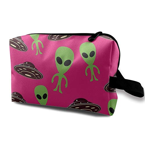 Travel Hanging Cosmetic Bags Alien and UFO Pattern Multi-Functional Toiletry Makeup Organizer -