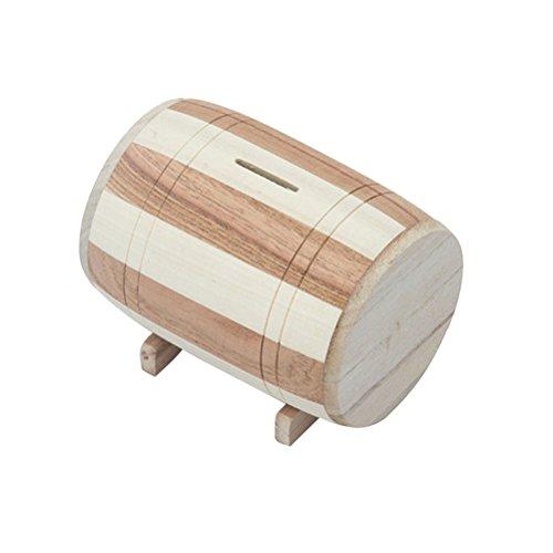 STOBOK Wooden Barrel Shaped Money Holder Vintage Rustic Coin Bank Piggy Bank Creative Gift (Small Size)