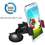 Eightiz® 360 Degree Rotating Car Mobile Holder For Xiaomi Redmi, Apple, Samsung, Sony, Lenovo, Motorola, HTC, Oneplus, Nokia, Oppo, Vivo And All Smartphones (Black)